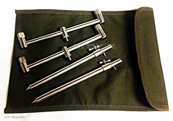4 x 30-50cm bank sticks Case TMC 2 x 2 Rod stainless steel goal post//Buzz Bars