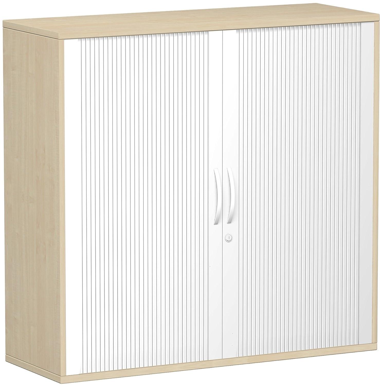 Geramöbel Querrollladenschrank Oberboden 25 mm, mit Standfüßen, abschließbar, 1200x425x1182, Silber/Ahorn