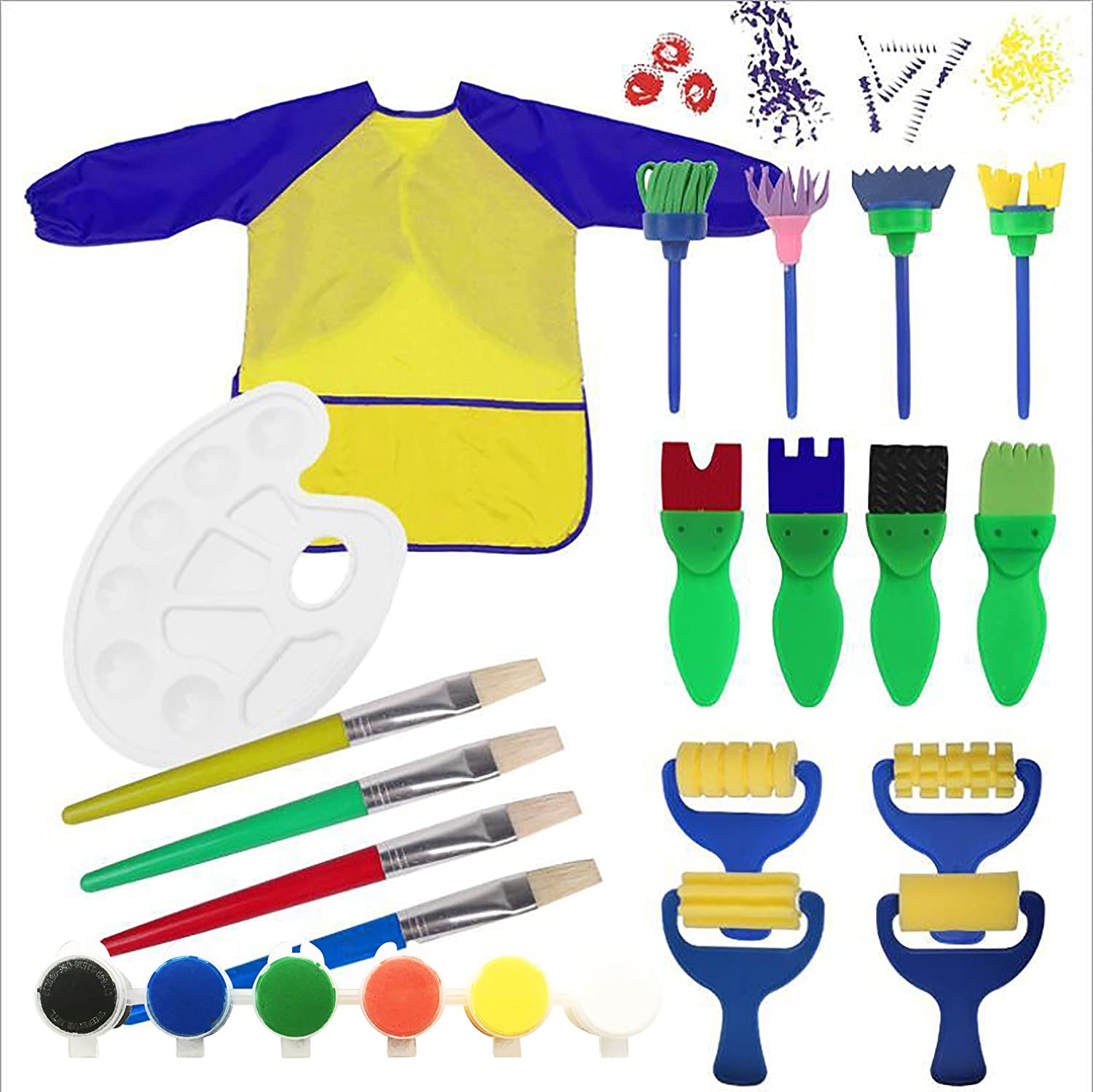 Kids Paint Set Bundle with Yellow/Blue Long Sleeve Art Smock, Brushes, Paints and Palette (19 Items) Prime Kids