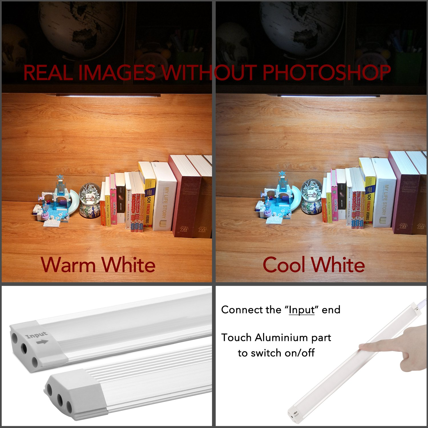 LED Under Cabinet Lighting Touch, Under Counter Lighting, 11.8 LED Closet Light, LED Under Shelf Lighting, for Kitchen,Cupboard,Desk,Workbench etc. Cool White 6000K,1 Panel Kit White