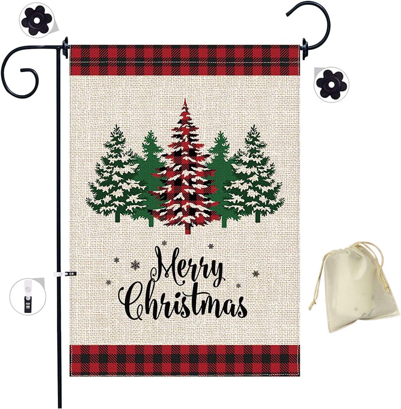 Christmas Tree Garden Flag, Merry Christmas Garden Flags Burlap, Double-Sided Red Black Buffalo Christmas Tree Flag, Buffalo Check Plaid(18 x 12 inches)