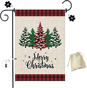 Christmas Tree Garden Flag, Merry Christmas Garden Flags Burlap, Double-Sided Red Black Buffalo Christmas Tree Flag, Buffalo Check Plaid(18 x 12 inches)