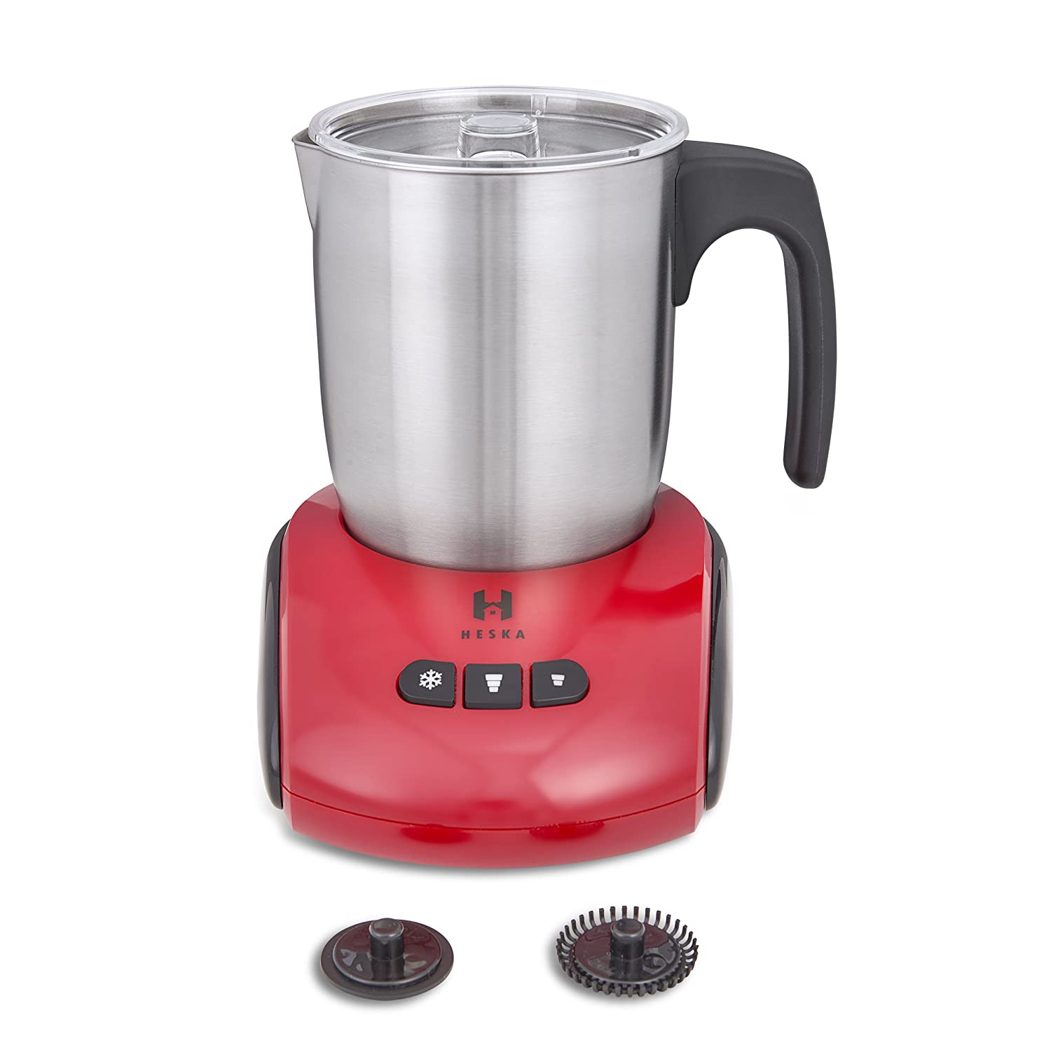 Heska - Milk Frother - Dishwasher Safe-Hot Chocolates -Lattes -Automatic Stainless Steel - Electric Frother Warmer For Hot and Cold Milk - Milk Level Indicator with Extra Frothing Whisk - 3 Colours Available (Red) Advanced Ideas Ltd