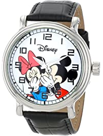 fb9a6f60d Disney Men's W000857 Vintage Mickey and Minnie Mouse Black Leather Strap  Watch