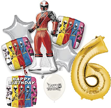 Gold Number 6th Birthday Power Rangers Ninja Steel Party Decorations Balloon Bundle