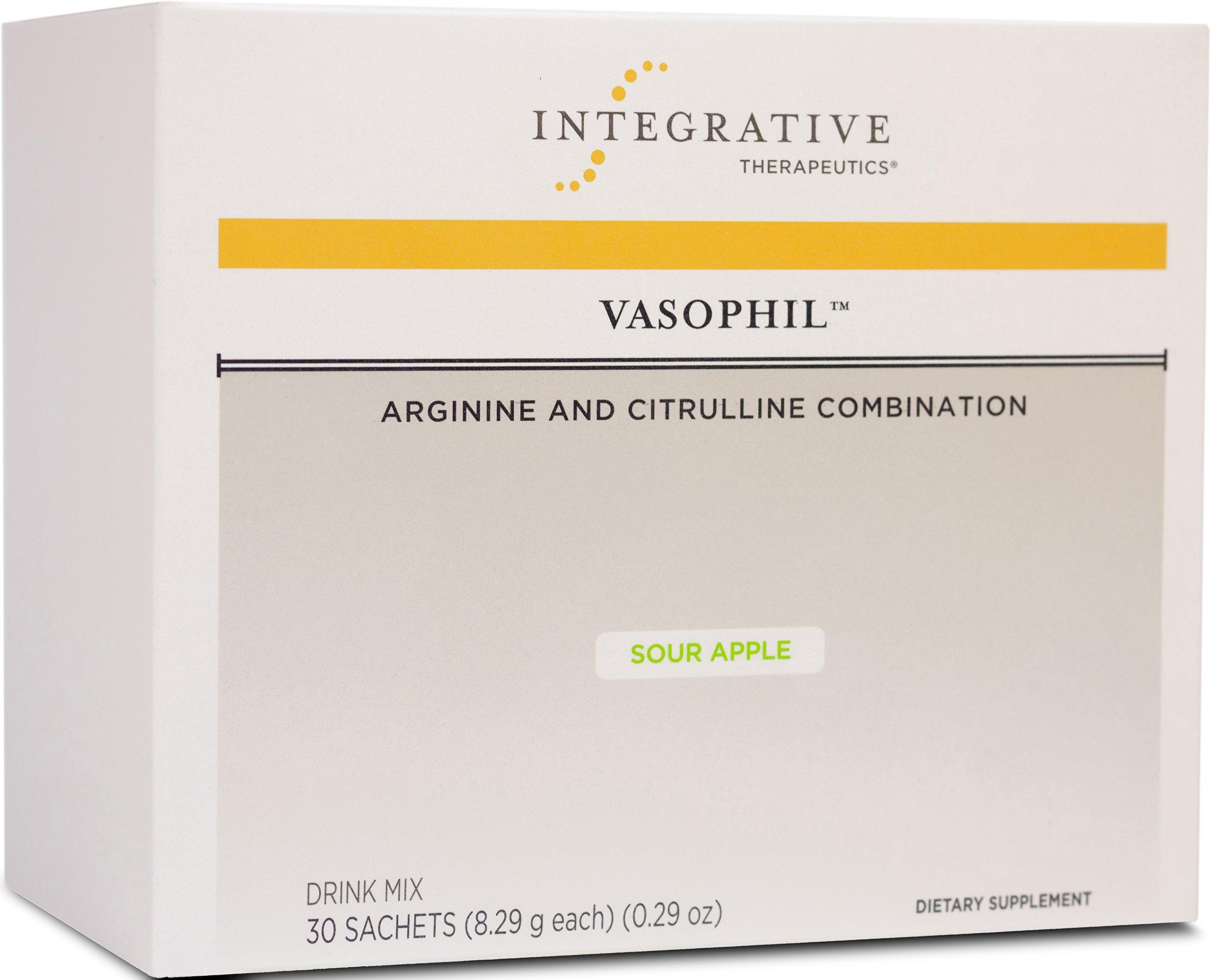 Integrative Therapeutics - Vasophil Drink Mix - Arginine and Citrulline Combination - Support Cardiovascular, Vasodialation, Blood Flow, & Sexual Function - Sour Apple Flavor - 30 Sachets