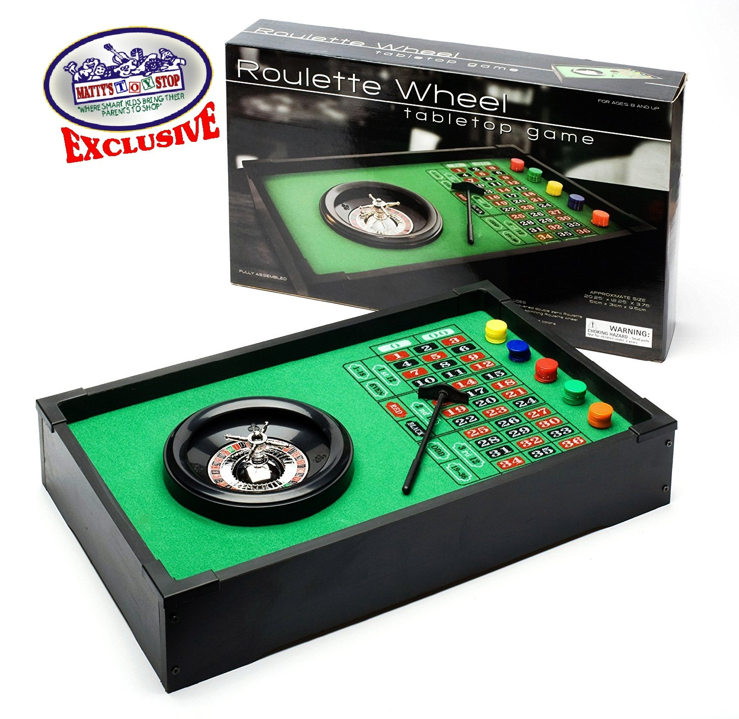 Deluxe Table Top Roulette Wheel with 50 Chips, Rake, Spinning Wheel & Double Zero Style Felt Covered Wood Table by Matty's Toy Stop