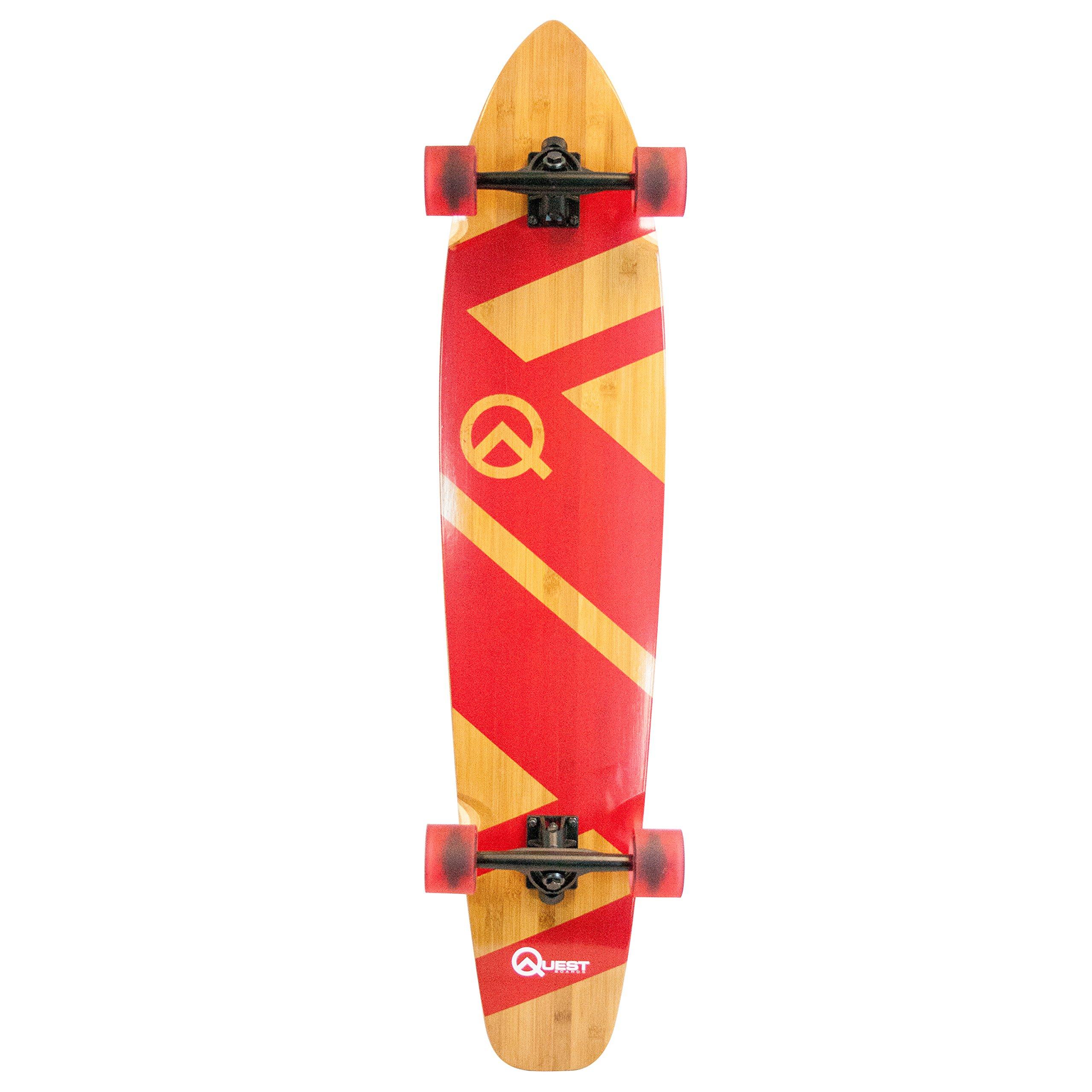 Quest Skateboards super Cruiser Crimson Bamboo & Maple Skateboard, Red, 44''