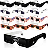 Solar Eclipse Glasses - CE and ISO Certified Safe Shades for Direct Sun Viewing (12 Pack)