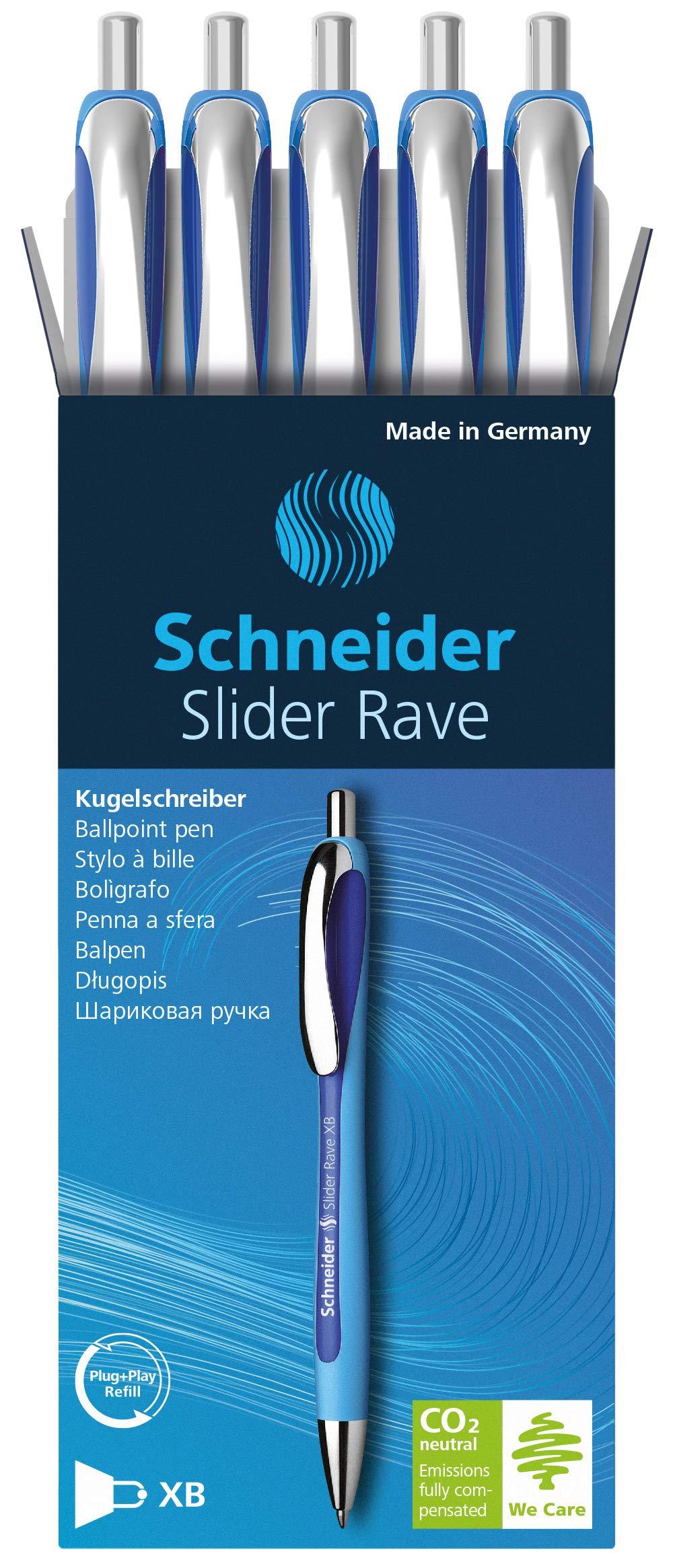 Schneider Slider Rave XB Ballpoint Pen, Box of 5, Blue (132503) by Schneider (Image #2)