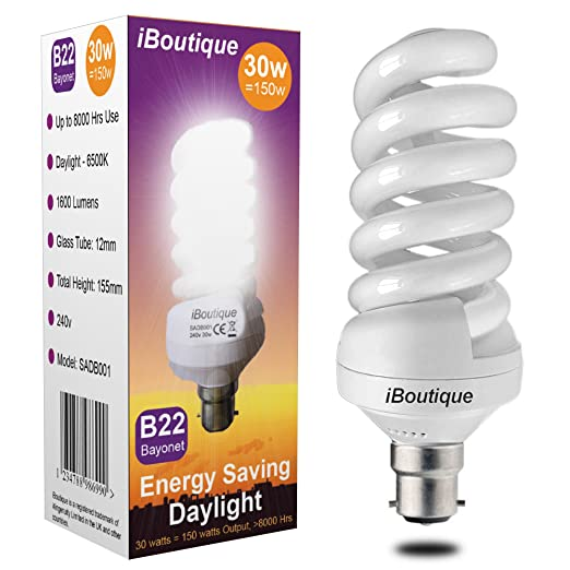 IBoutique® 30W Bayonet (B22) Daylight Energy Saving Light Bulb Equivalent  Output 150 Watts