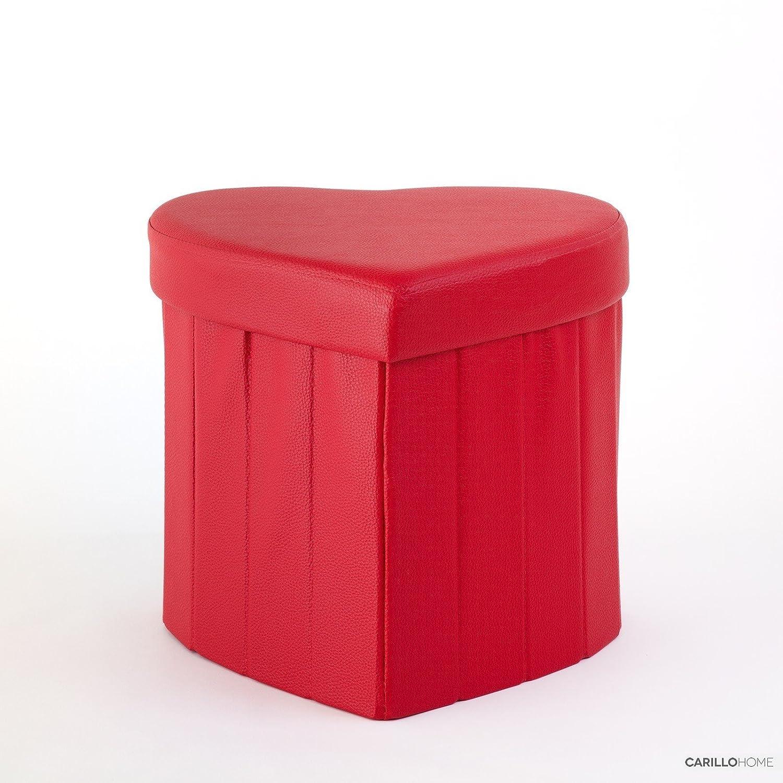 Pouf Contenitore Ecopelle - Forma Cuore-Rosso