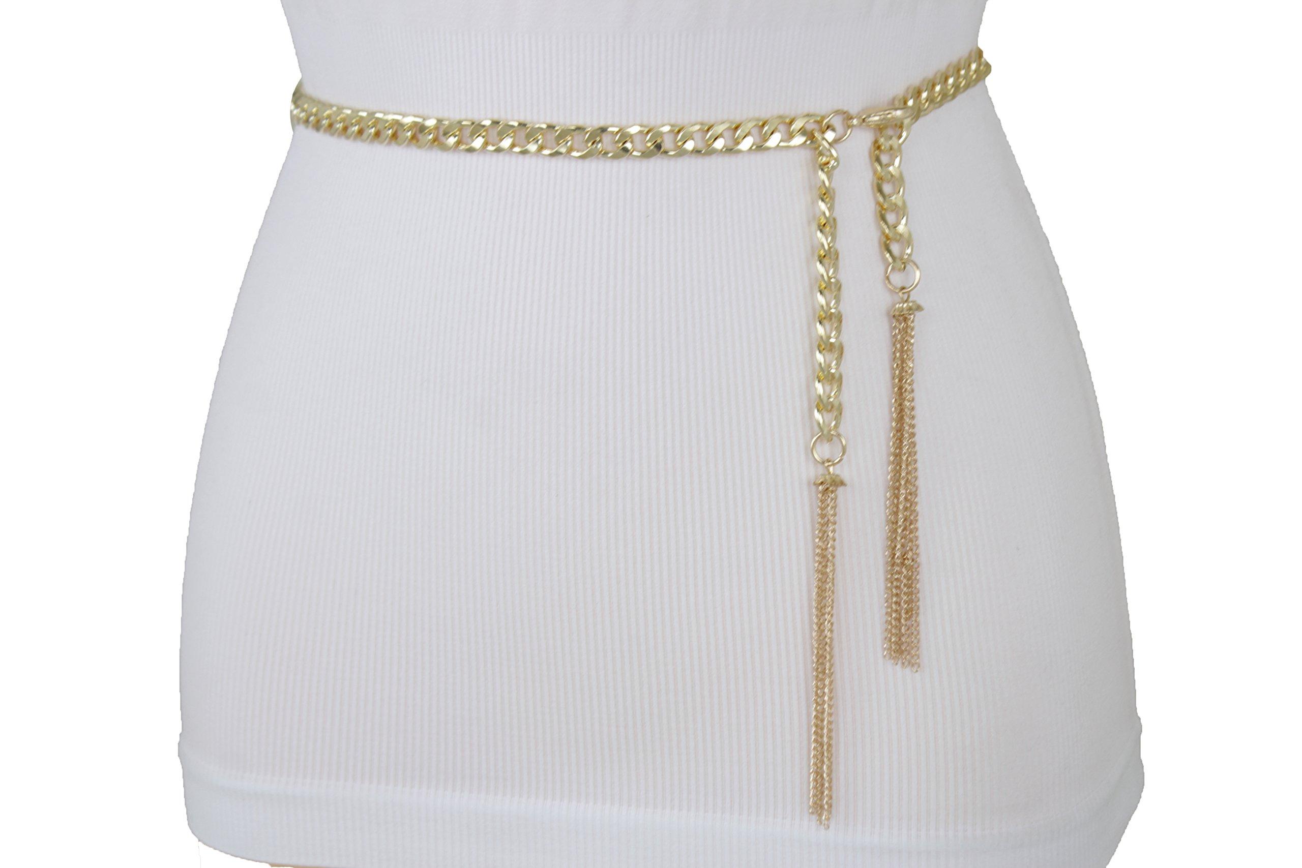 TFJ Women Fashion Metal Chain Belt Hip Waist Turquoise Blue Coins Gold Plus M L XL