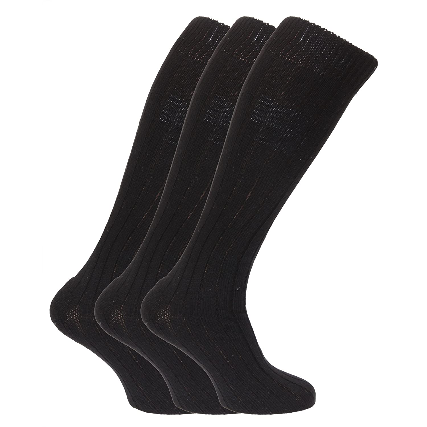 Mens Wool Blend Long Length Socks With Padded Sole (Pack Of 3) EUR 39-45) (Black) Severyn UTMB160_3