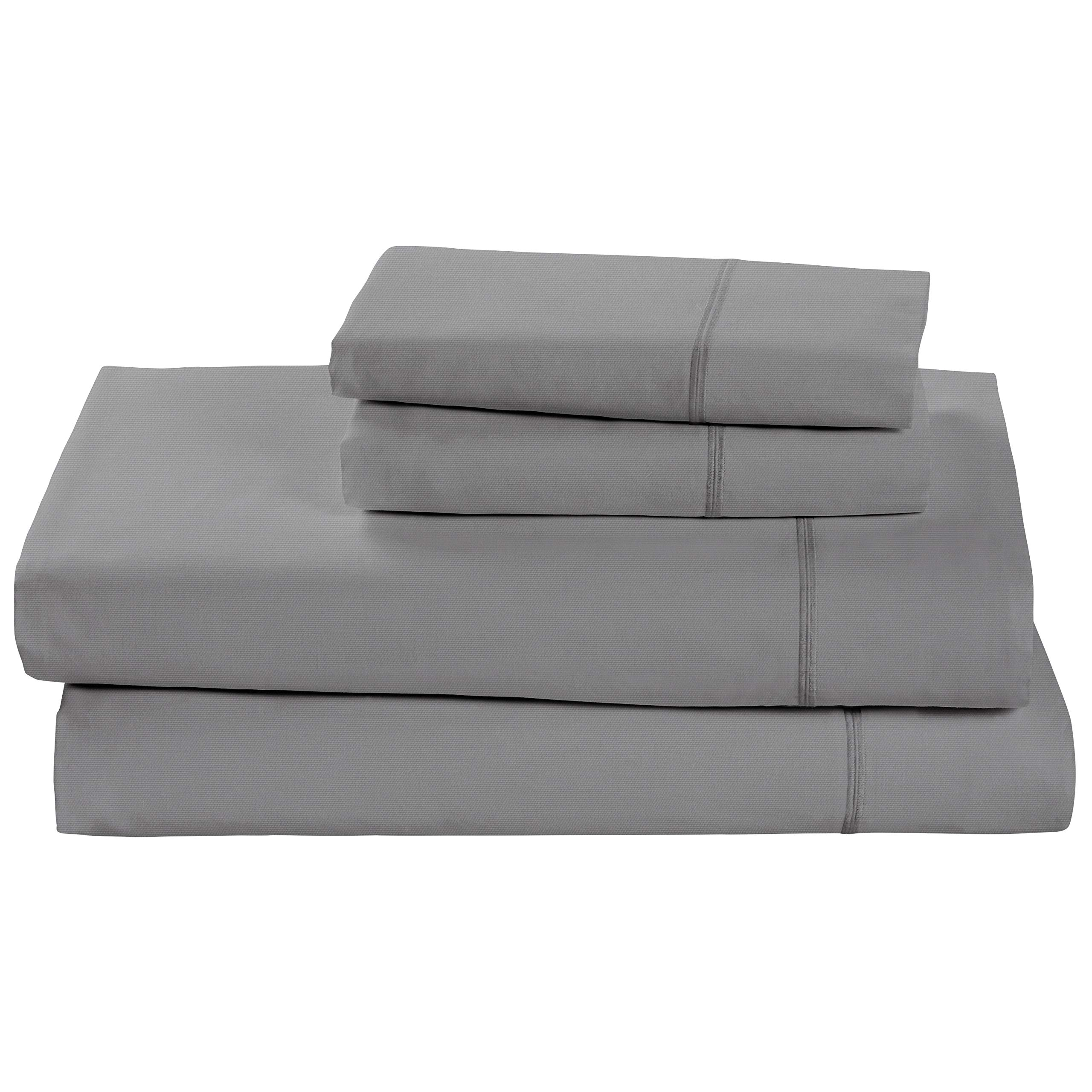 Rivet Soft 100% Percale Cotton Sheet Set, Easy Care, Full, Pewter
