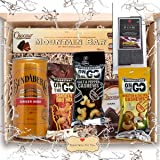 Gift Hamper for Men on Father's Day or Birthday - Favourite Simple Snack Food and Drink for Him or Her with Chocolate, Nuts and Dried Fruit Leather