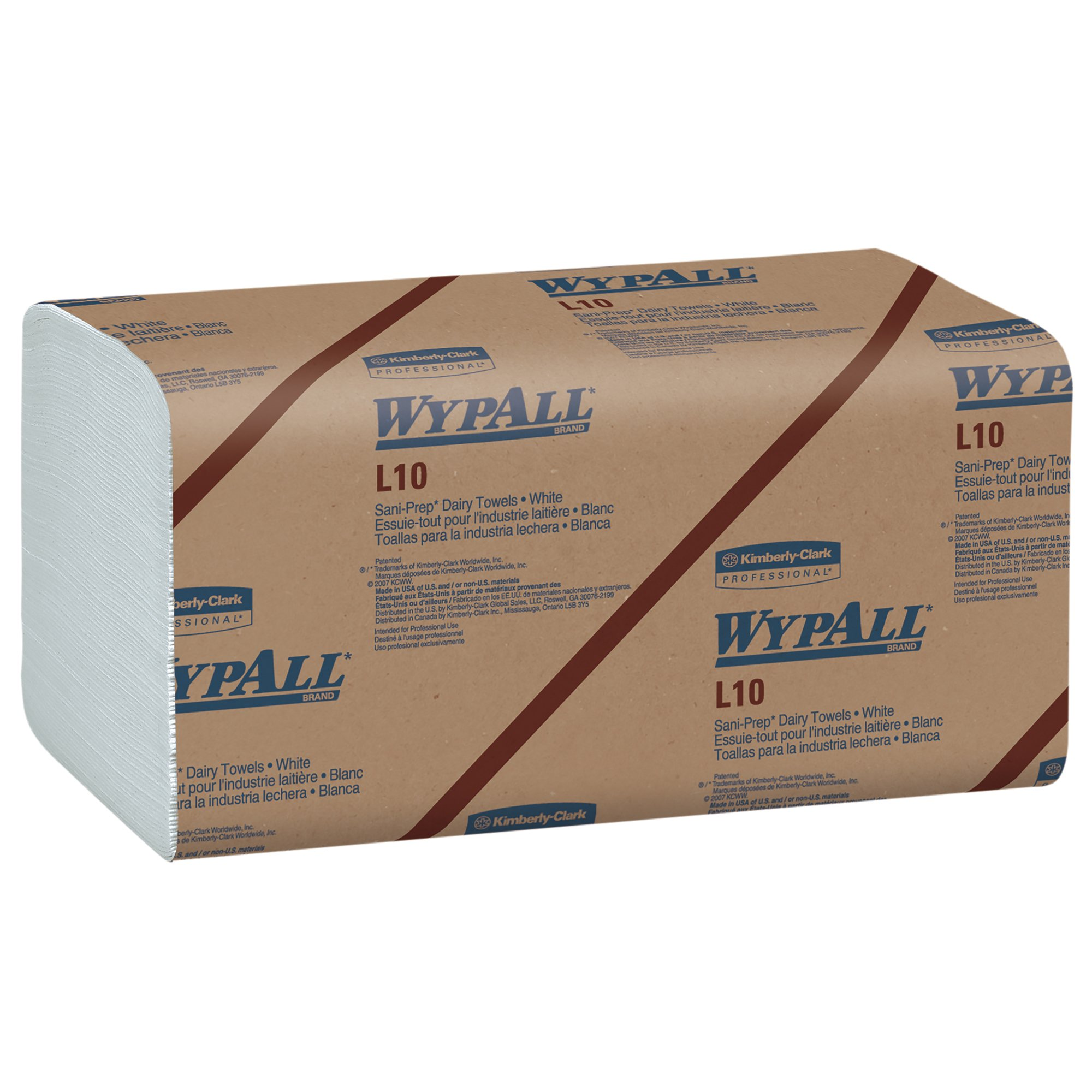 Wypall L10 Disposable Towels (01770), Dairy Towels, 1-PLY, Banded, White, 12 Packs/Case, 200 Wipes/Pack, 2,400 Sheets/Case