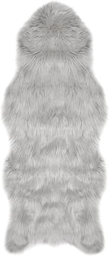 Jean Pierre Faux-Fur 22 X 60 in. Runner Area Rug, Light Grey
