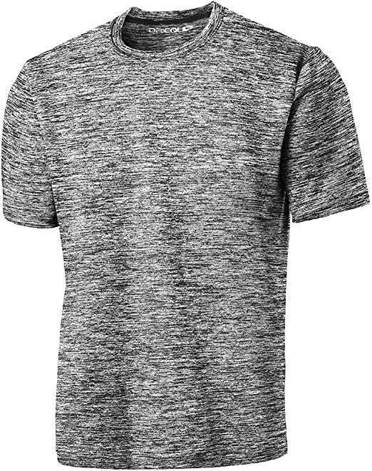 Mens Moisture Wicking T-Shirt Heathered Two Tone Performance Workout XS-4XL NEW