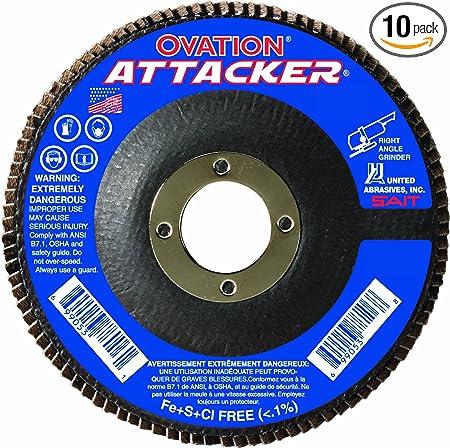 10 Pack SAIT 76346 Ovation Attacker Flap Disc United Abrasives 6 x 5//8-11 Z 40x