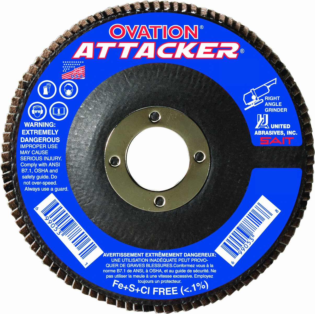 United Abrasives- SAIT 76231 Ovation Attacker Flap Disc, 5 x 7/8 Z 120x, 10 Pack