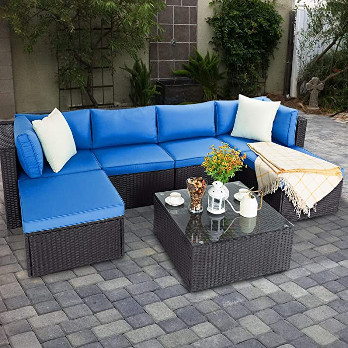 Vitesse 7 Pieces Patio Furniture Sectional Sets, Outdoor All-Weather PE Rattan Wicker Lawn Conversation Sets, Garden Sofa Set with Coffee Table and Washable Couch Cushions (Royal Blue)