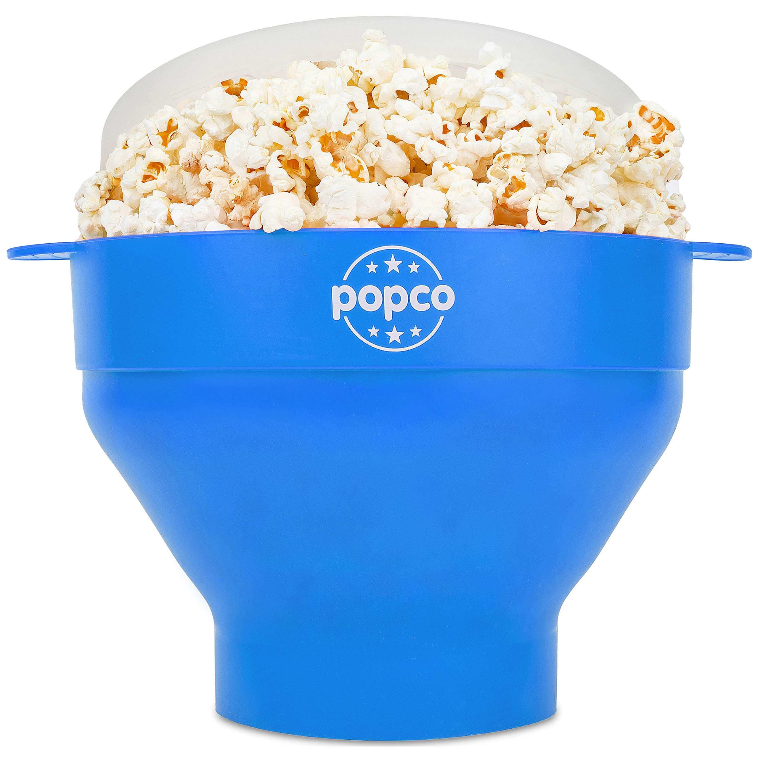 The Original Popco Silicone Microwave Popcorn Popper with Handles, Silicone Popcorn Maker, Collapsible Bowl Bpa Free and Dishwasher Safe - 10 Colors Available (Light Blue) by POPCO