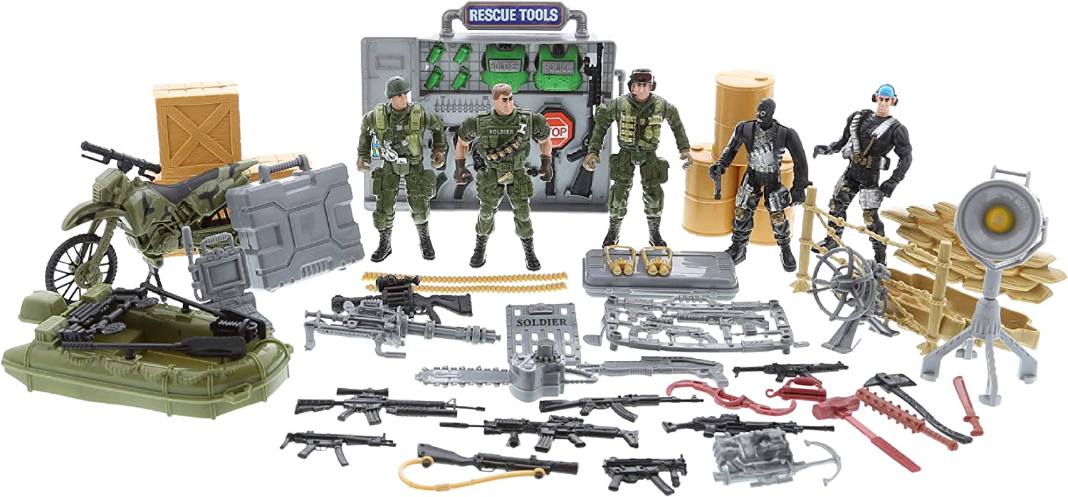 Army Toy Soldiers  Action Figures motorcycle Weapons and Accessories 4 Figures