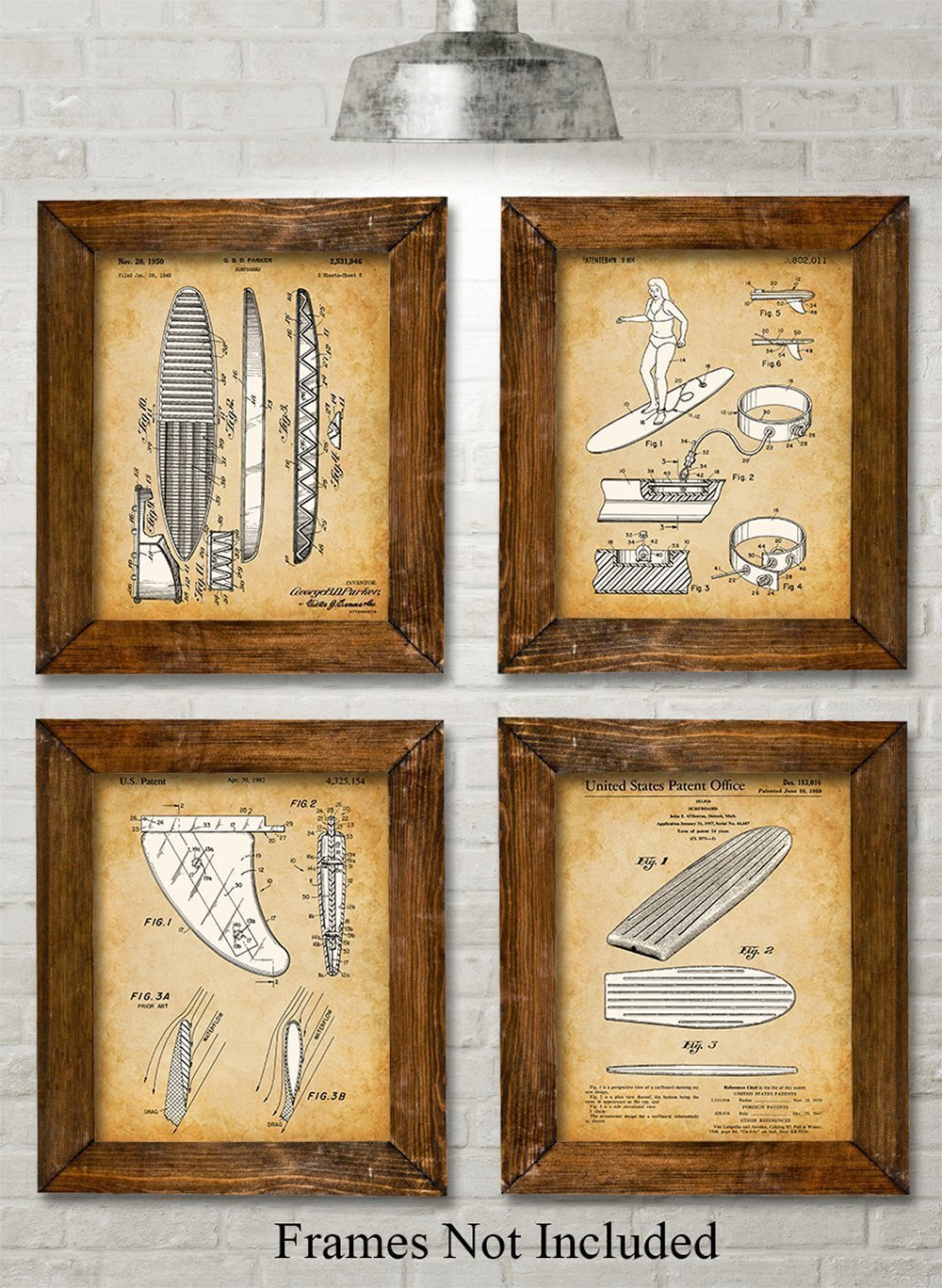 Original Surfboards Patent Prints - Set of Four Photos (8x10) Unframed - Great Gift for Surfers