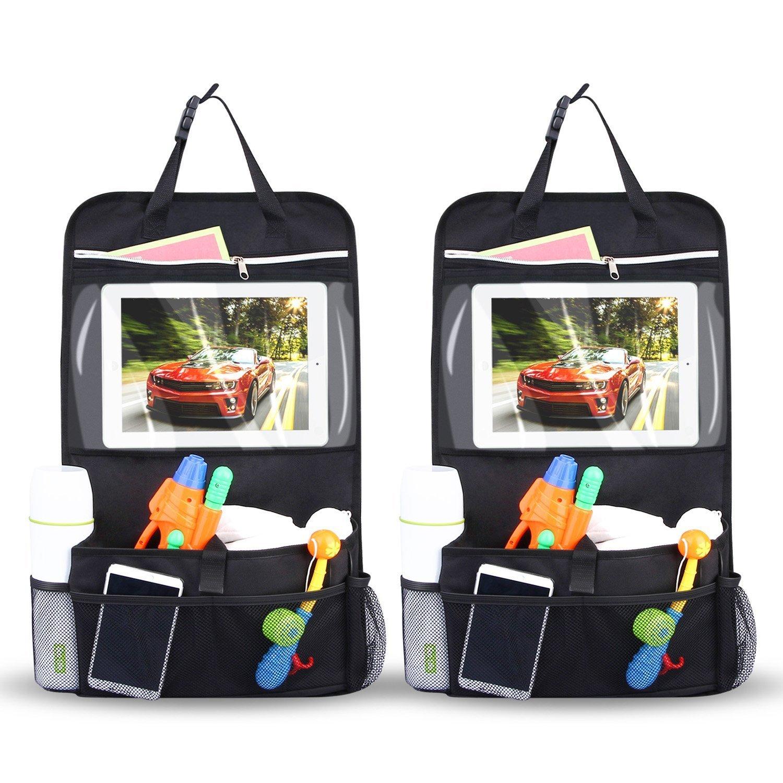 INTEY 2 Organizer Autositz Stück Wasserdicht Rückenlehnenschutz Tasche Rücksitz Organizer Auto Aufbewahrungstasche Rücksitztasche Kinder Rücksitzschoner iPad-Tablet-Halter [58 cm * 34 cm] NY-O04