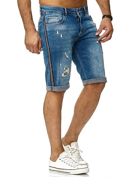 Redbridge Hombres Pantalones Cortos Lujo Rayas Denim Destruida Jeans Shorts