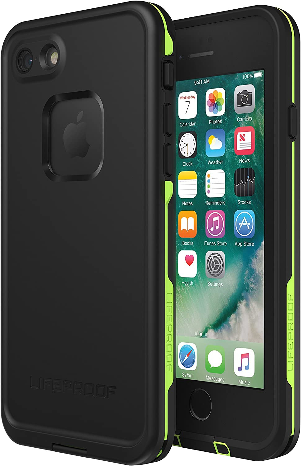 Lifeproof FRē Series Waterproof Case for Iphone 8 & 7 - Retail Packaging - Night Lite (Black/Lime)