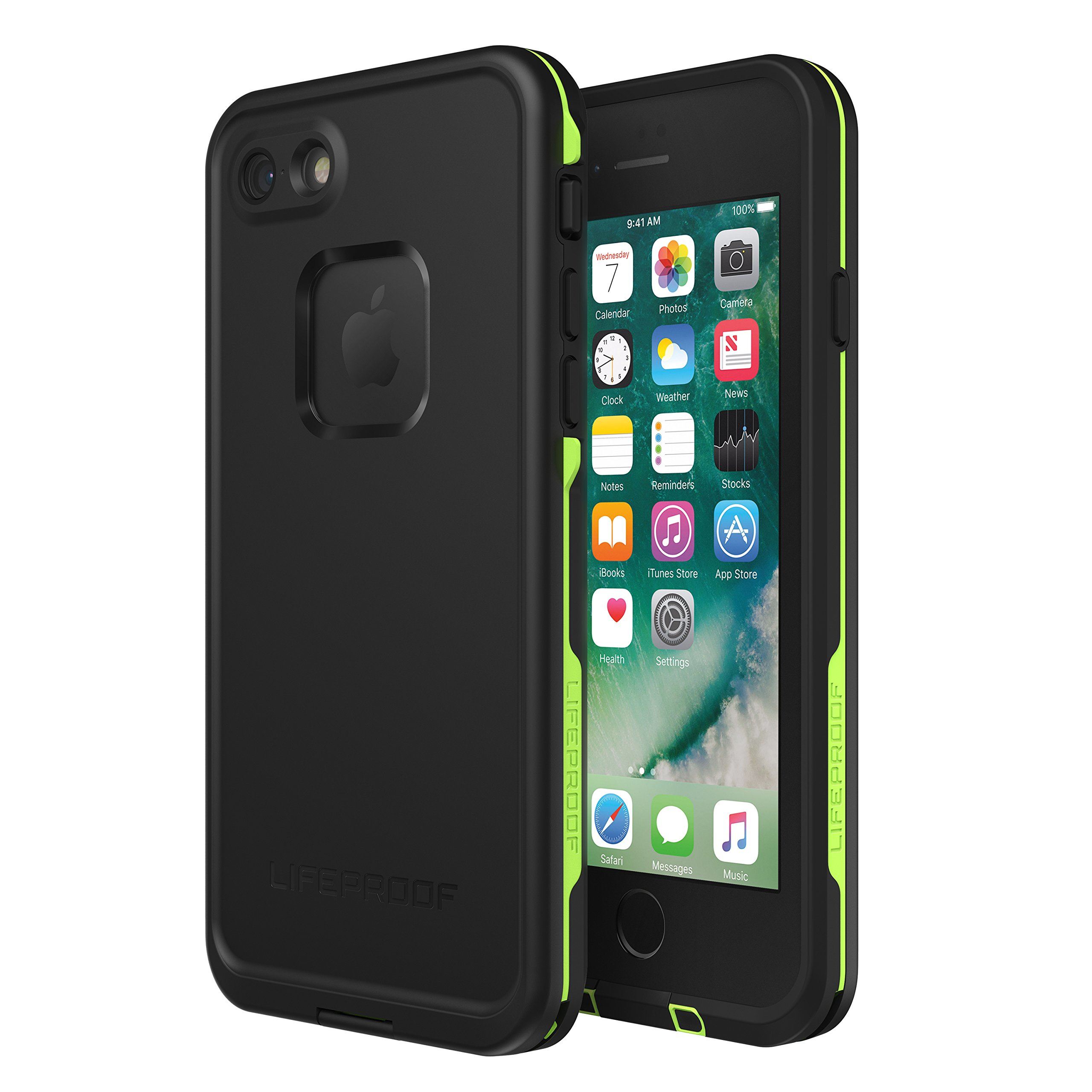 Lifeproof FRĒ SERIES Waterproof Case for iPhone 8 & 7 (ONLY) - Retail Packaging - NIGHT LITE (BLACK/LIME)
