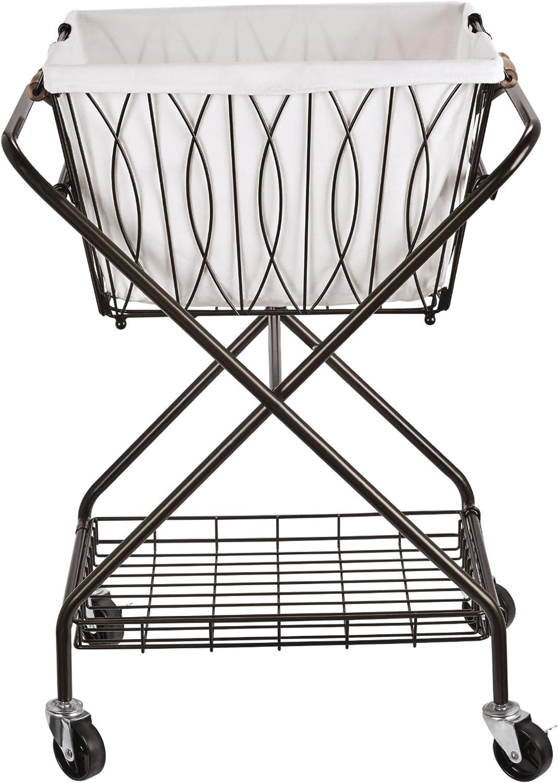 "Artesa Verona Collapsible Metal Laundry Cart with Removable Basket & Canvas Bag, 20.5"" L x 16.2"" W x 13"" H, Antique Black"