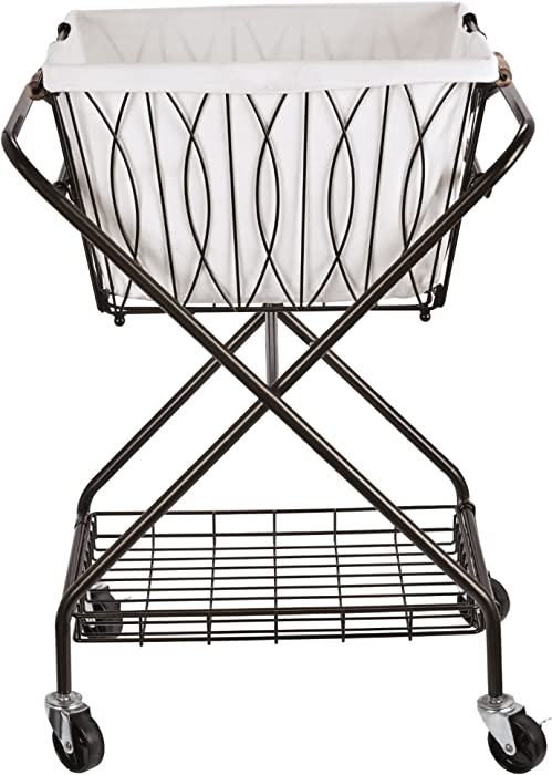 "Artesa Verona Collapsible Metal Laundry Cart with Removable Basket & Canvas Bag, 20.5"" L x 16.2"" W x 13"" H, Antique Black"