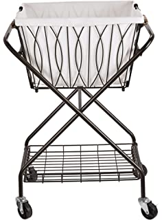 artesa verona collapsible metal laundry cart with removable basket u0026 canvas bag - Laundry Carts