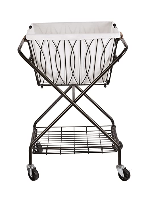 "Artesa 5187033 Verona Collapsible Metal Laundry Cart with Removable Basket & Canvas Bag, 20.5"" L x 16.2"" W x 13"" H, Antique Black"