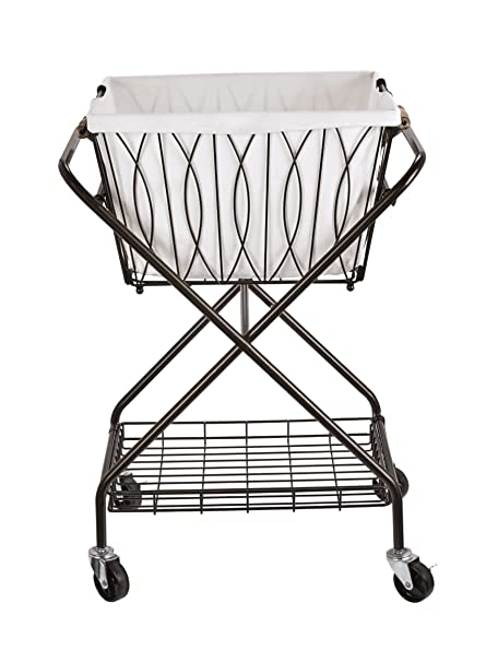 58bd2f5fe11 Image Unavailable. Image not available for. Color  Artesa 5187033 Verona  Collapsible Metal Laundry Cart with Removable Basket   Canvas Bag ...