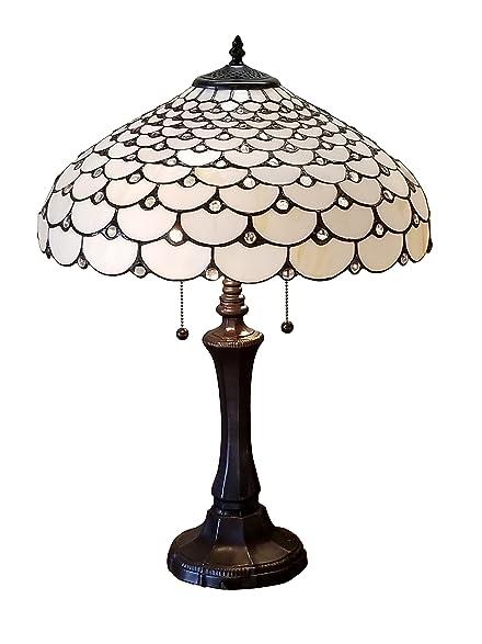 Amora Lighting AM010TL18 Tiffany Style Jeweled Double Lit Table ...