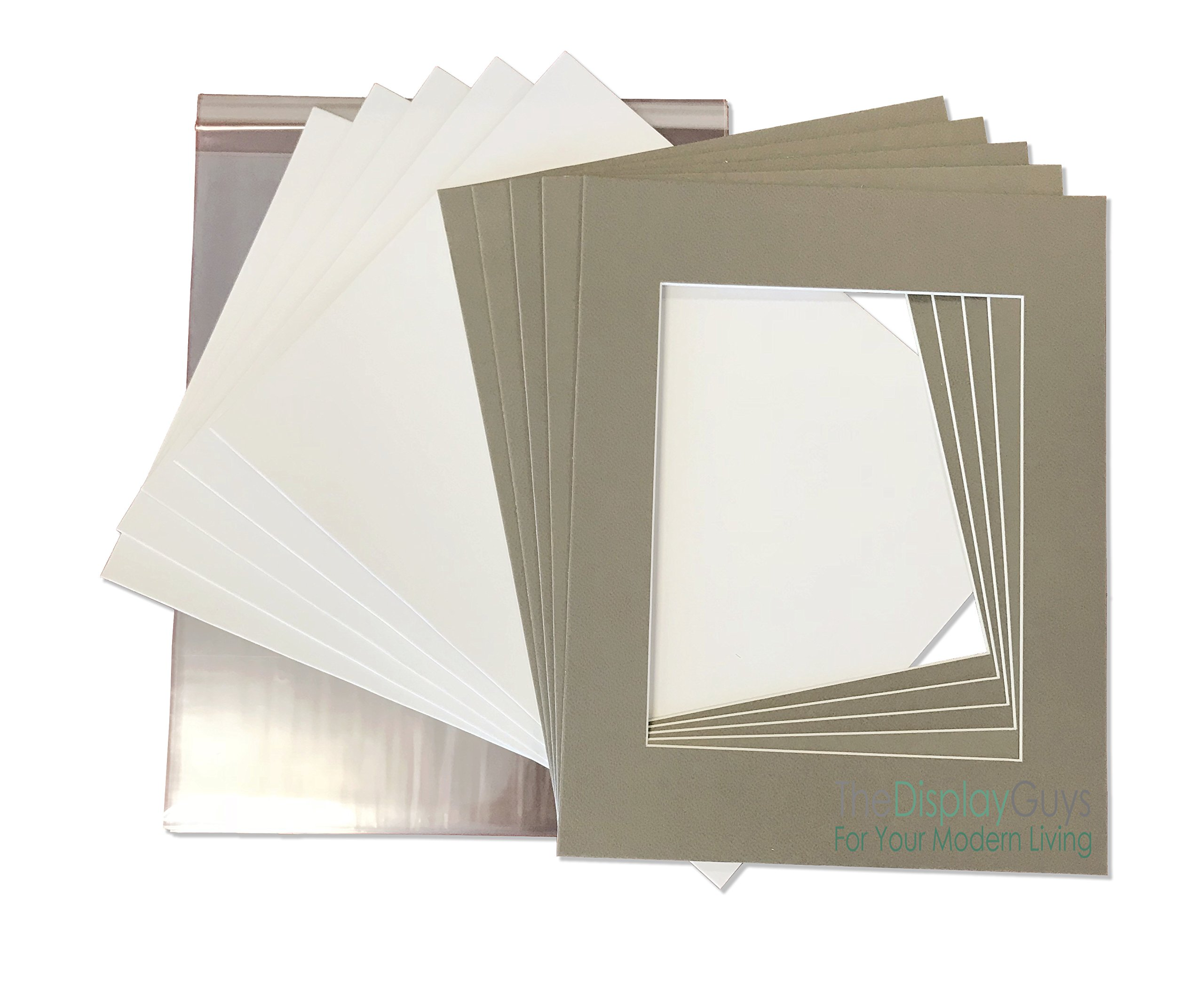 THE DISPLAY GUYS 16x20 Pack of 25 Textured Gray Picture Photo Matting Mat Boards + Backing Boards + Clear Plastic Bags Complete Set
