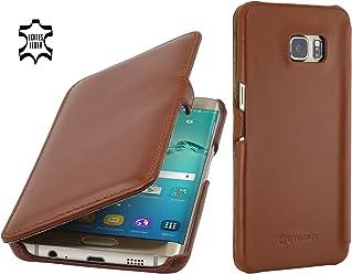 StilGut Book Type avec Clip, Housse en Cuir pour Samsung Galaxy S6 Edge+, en Cognac