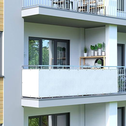 Jarolift Revestimiento para balcón Resistente al Agua (hidrófugo), Lona de protección para Balcones y terrazas, 500 x 90cm (24 Ojales), Blanco: Amazon.es: Jardín