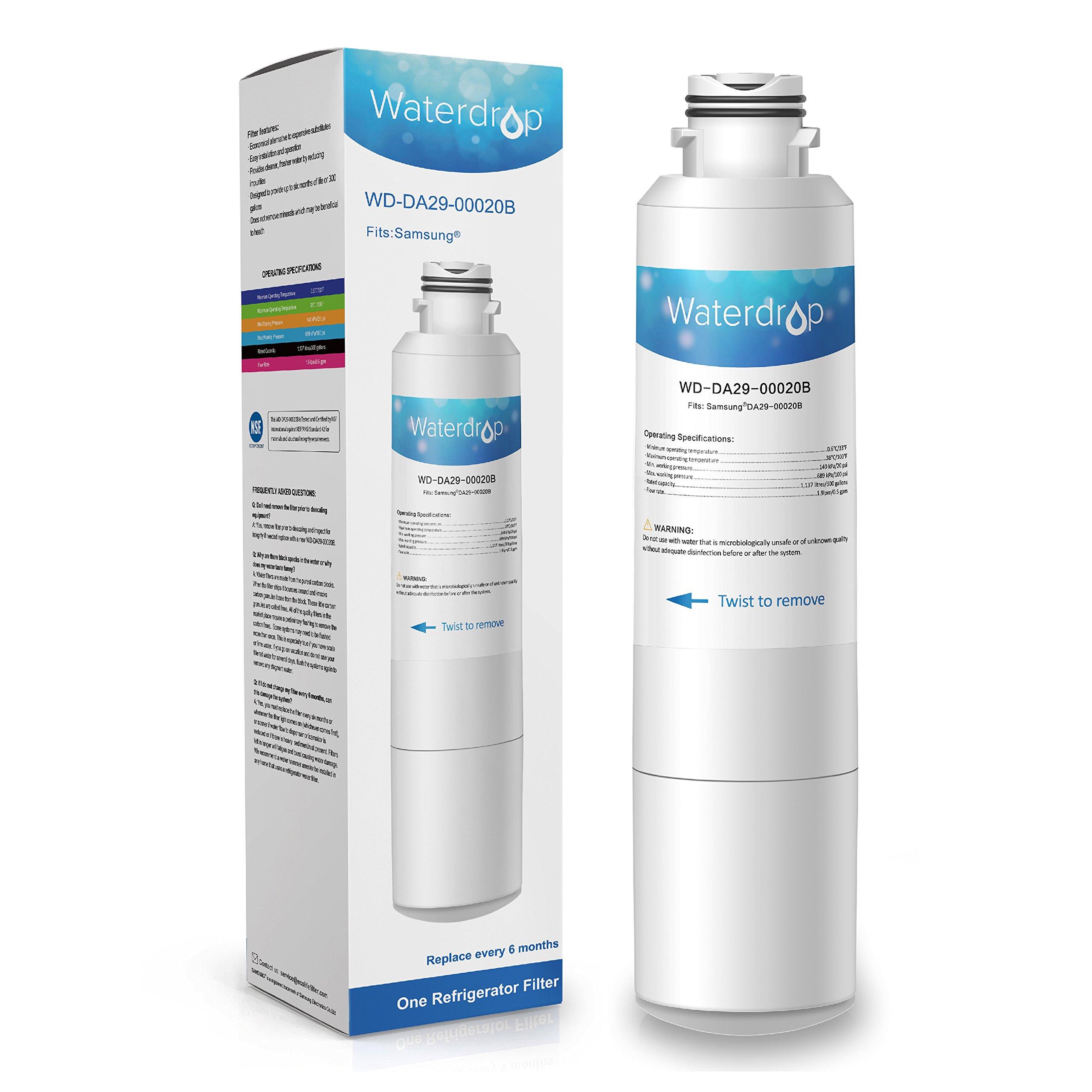 Waterdrop DA29-00020B Refrigerator Water Filter Replacement for Samsung DA29-00020B, DA29-00020A, HAF-CIN/EXP, 46-9101