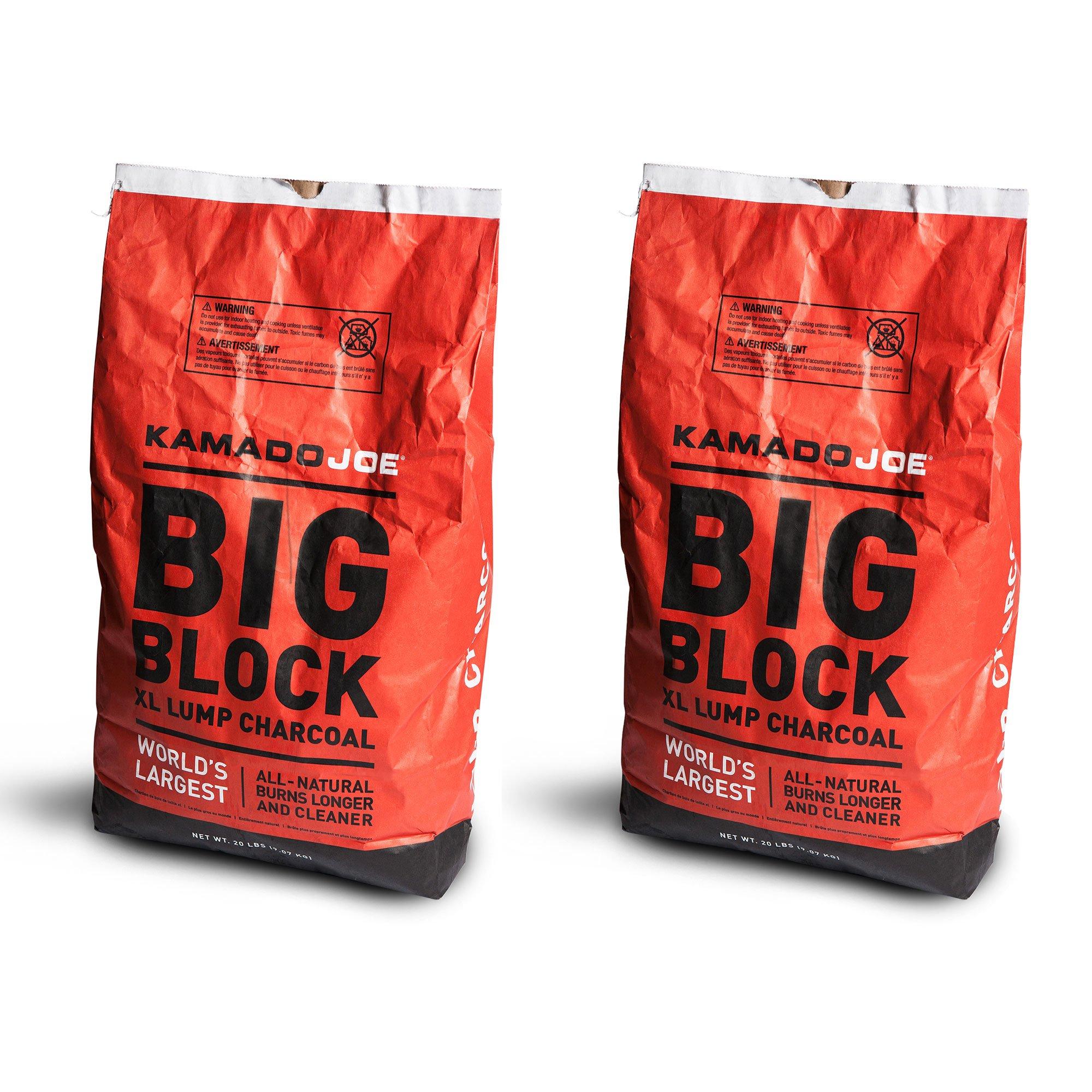 KamadoJoe All-Natural Big Block XL Lump Charcoal, 20 Lb (2 Pack)