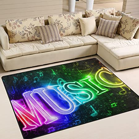 Amazon De Naanle Musik Note Bereich Teppich Bunt Wort Musik