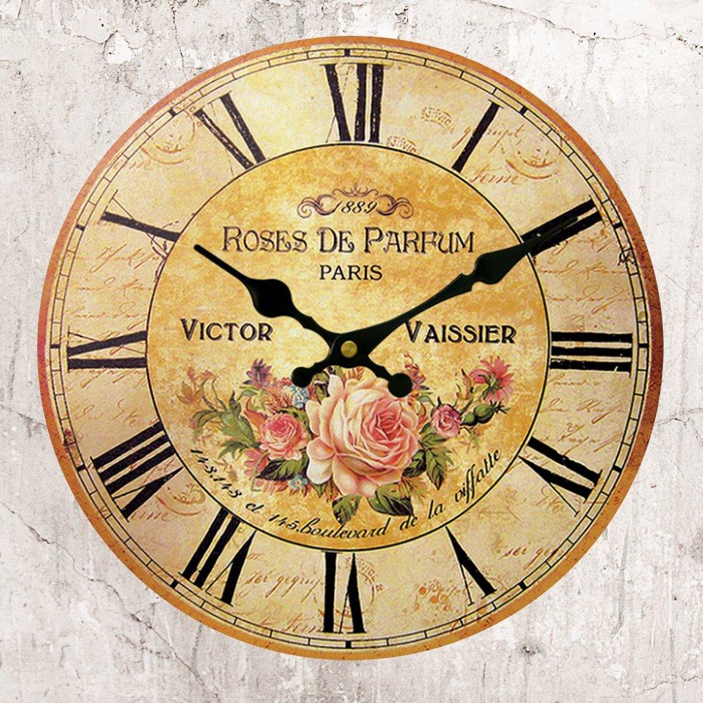 Amazon.com: Wooden Wall Clock Baroque Rose Romantic 14 Inch Atomic ...