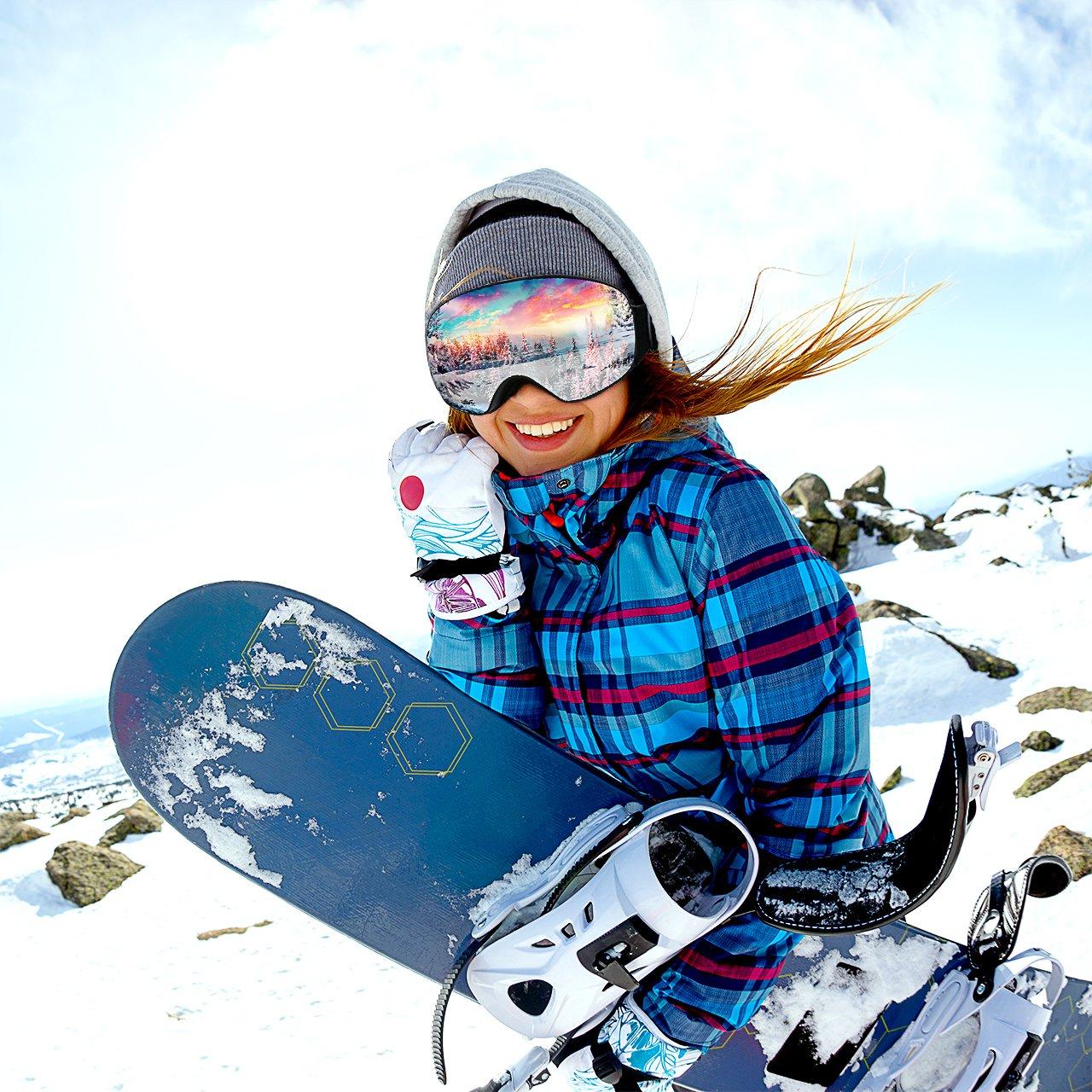 Mpow Masque de Ski Lunettes de Ski Femme et Homme Masque Snowboard Double  Grande Lentille OTG Sphérique Italienne Anti-UV400 ... 374d1bc6eacb
