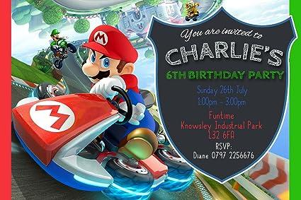 Mario Kart Birthday Party Invitations Envelopes Click Personalise