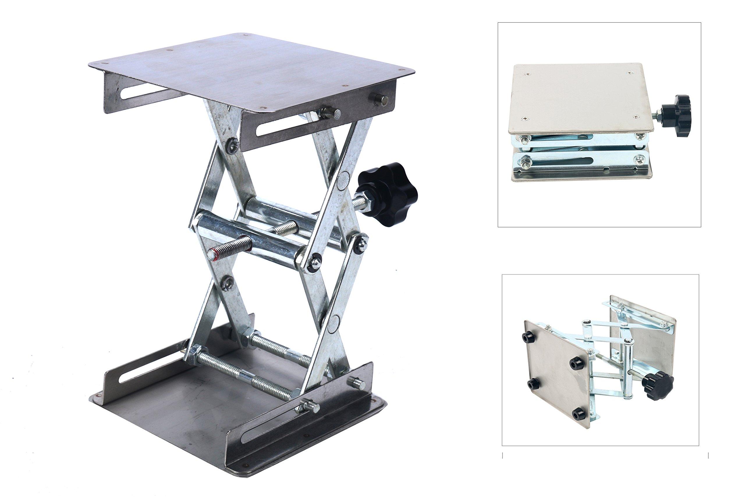 YaeTek 4'' x 4'' 100mm Stainless Steel Lab Jack Scissor Stand Platform LAB Lift laboratory Jiffy Jack Rack Lifter