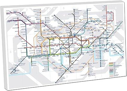 Cartina Di Londra Da Stampare.Stampa Su Tela Da Appendere Della Metropolitana Di Londra Mappa Tube Colore 91 4 X 61 Cm Amazon It Casa E Cucina